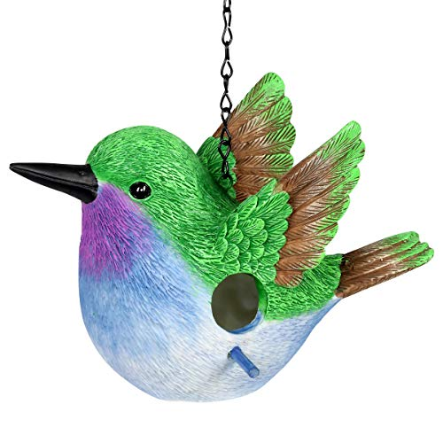 Exhart Hummingbird Hanging Bird House - Handcrafted Hummingbird Resin Mini House with a Link Chain - Hanging Birdhouse Décor - Cute Hummingbird Décor for Porch, Trees, Patio and Garden, 10