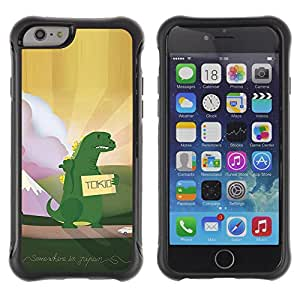 KROKK CASE Apple Iphone 6 PLUS 5.5 - funny hitchhiking dinosaur monster kids - Funda Carcasa Bumper con Absorción de Impactos y Anti-Arañazos Espalda Slim Rugged Armor