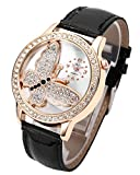 Top Plaza Womens 3D Rhinestone Butterfly Embossment Relief Crystal Accented Rose Golden Case PU Leather Black Band Analog Quartz Watch