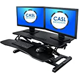 CASL Brands Height-Adjustable Standing Desk Converter with Keyboard Tray and Mobile Device Slot, 31-Inch Wide