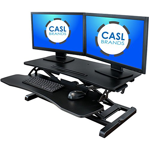 CASL Brands Height-Adjustable Standing Desk Converter with Keyboard Tray and Mobile Device Slot, 31-Inch Wide by CASL Brands