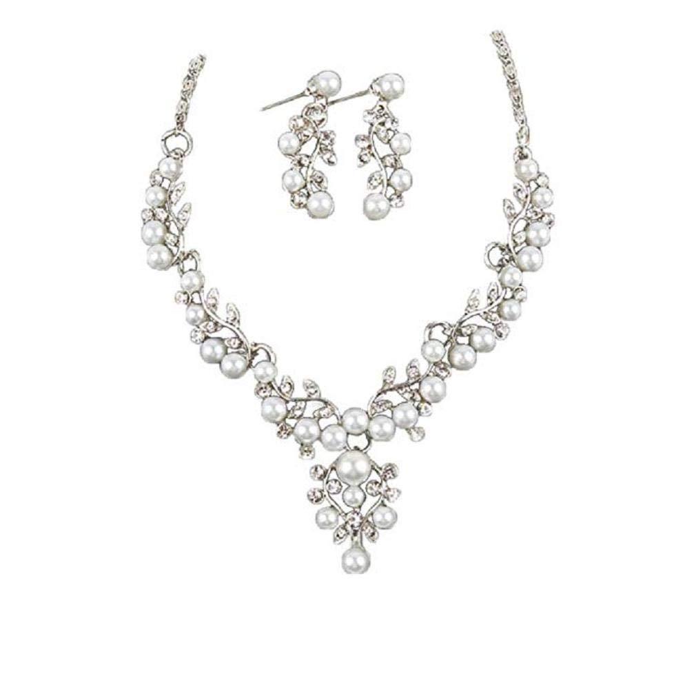Pendientes de collar de moda, Scpink Juego de joyas Pendientes de perlas de diamantes de imitación cortos Collar Joyería de novia de boda (Plateado)