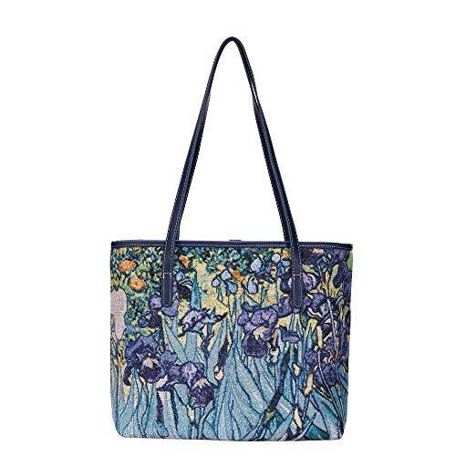 Signare Tapestry Vincent Van Gogh Irises Fashion Tote Bag (COLL-ART-VG-IRIS), Medium