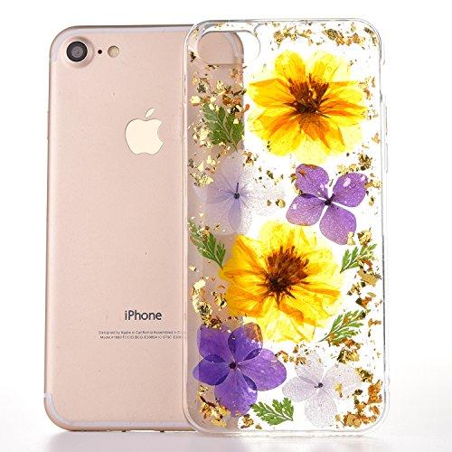 Caso del iPhone 6sPlus, Caso Suave del iPhone 6Plus, YFZYT Ultra Delgado 3D Colorida Caja de Flores Secas Naturales, Contraportada Protectora Crystal Clear Anti-Scratch para 5.5 Pulgadas Apple iPhone  Flores de Colores 1
