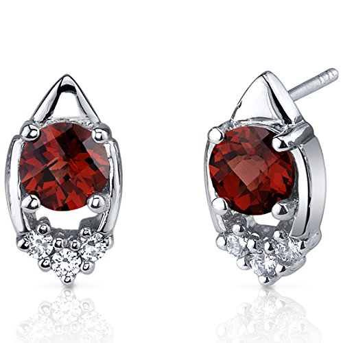 Garnet Earrings Sterling Silver Rhodium Nickel Finish 2.00 Carats Round Cut CZ Accent