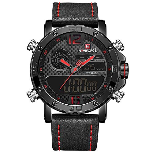 Men Sport Chronograph Dual Display Watch Leather Strap Man Fashion Waterproof Casual Wrist Watch ...