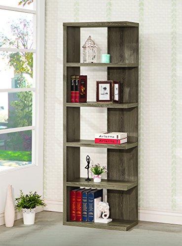 coaster contemporary weathered grey semi-backless five shelf bookcase