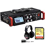 Tascam 6-Track Field Recorder for DSLR with SMPTE Timecode DR-701D w/Bundle + SanDisk Extreme 32GB 90 Mb/s v30 Memory Card + Sony Studio Monitor Headphones with CCAW Voice Coil