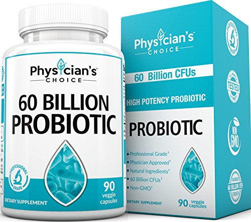 Probiotics 60 Billion CFUs [Dr. Formulated] Probiotics for Women, Probiotics for Men and Adults, All Natural; Shelf Stable Probiotic Supplement with Prebiotic, Best Acidophilus Probiotic; 90 Capsules by PhysiciansChoice