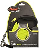 Flexi Neon Retractable Dog Leash (Tape) , 16 ft, Large, Black/Neon