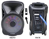 12″ Portable 1200W Speaker PA System Wireless Mic Bluetooth/REC/USB/SD/FM/Rechargeable battery/LCD Light MU-12D