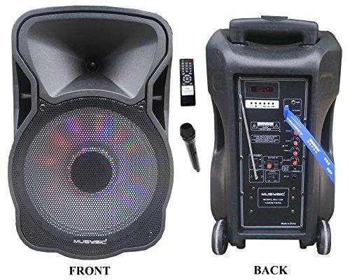 "12"" Portable 1200W Speaker PA System Wireless Mic Bluetooth/"