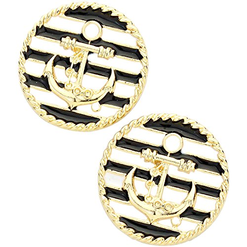 Liavy's Anchor Disc Fashionable Earrings - Enamel - Stud - Black & White - Anchor Disc