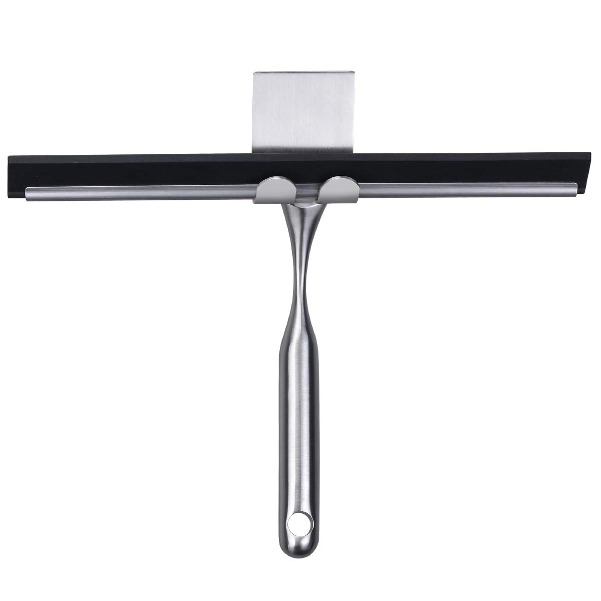 Fle Shower Squeegee, Bathroom Shower Squeegee SUS-304 Stainless Steel Squeegee for Car Glass/Mirror/Window, Kitchen Floor Squeegee with 3M Self-Adhesive Hook
