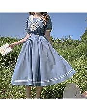 Mcttui Lolita kleding Japanse Lolita Sweet Dress Harajuku Sailor Lolita Jurk Streetwear Shirt Collar Navy Jurken Vintage Bow Kawaii Girls Preppy Style Lange mouw Jurk