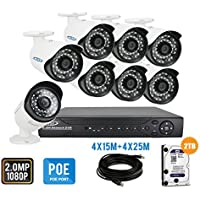 PLV 8CH 3MP NVR Security Camera System, 8 High Resolution 1080P Weatherproof IP PoE Bullet Cameras Surveillance System with Cables 2TB HDD