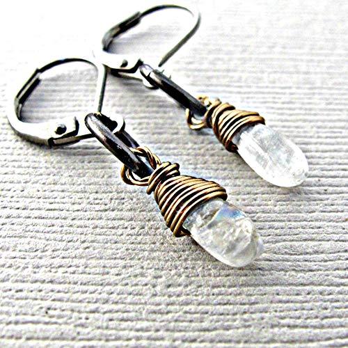 Moonstone earrings, drop earrings, dangle earrings, briolette jewelry, leverback earrings, gemstones, blue moonstone, gemstone jewelry, gemstone earrings