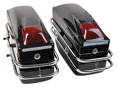 Comie 2 Pcs Motorcycle Cruiser Hard Trunk SaddleBags Luggage w/ Lights Mounted Chrome Rail Bracket Black by Comie (Image #1)