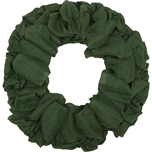 - VHC Brands Christmas Holiday Decor - Burlap Round Wreath, 20 x 20, Green