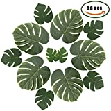 ManYee Artificial Silk Tropical Palm Monstera Leaves Branches for Safari Jungle Birthday Party Bridal&Baby Shower Supplies Boho Holiday Decor Pack of 36