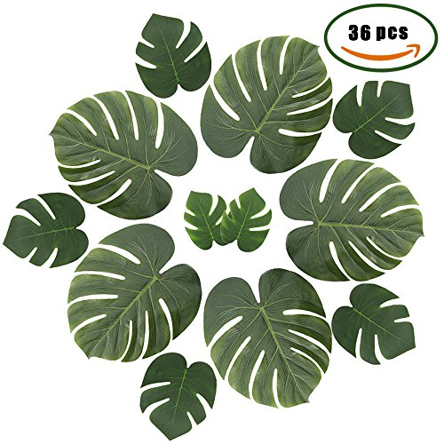 ManYee Artificial Silk Tropical Palm Monstera Leaves Branches for Safari Jungle Birthday Party Bridal&Baby Shower Supplies Boho Holiday Decor Pack of (Safari Grass)