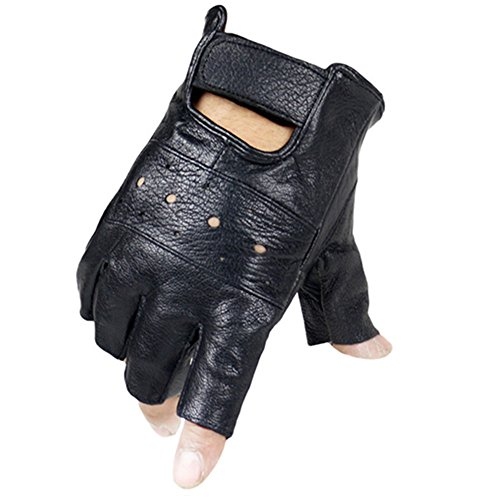 Long Keeper Fingerless Genuine Leather Gloves for Men Black