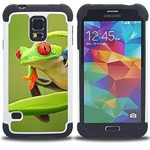 For Samsung Galaxy S5 I9600 G9009 G9008V - frog green orange tropical summer Dual Layer caso de Shell HUELGA Impacto pata de cabra con im??genes gr??ficas Steam - Funny Shop -