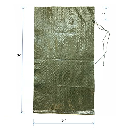 With Strong Drawstring Closure Ties 4000 Hrs Of UV Protection 50 Lbs Capacity 20 Pcs Military Grade Empty Dark Green Woven Polypropylene Heavy Duty Sand Bags Intock Sandbags 14 x 26 Size