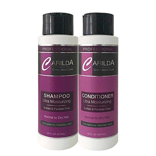 Carilda Shampoo & Conditioner Kit. Ultra Moisturizing Sulfate and Paraben Free 16oz - for Keratin Treated Hair