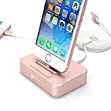 Aluminum Charging Docking Station for Apple iPhone 7 / 6S / 6 Plus / iPad mini (MFi Lightning Cable Included)- 2 in 1 Rose Gold