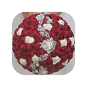 24Cm Satin Flowers Bridal Bouquet with Crystal Rose Burgundy Flower Beaded Wedding Bouquet Purple Bouquets Accessories 51