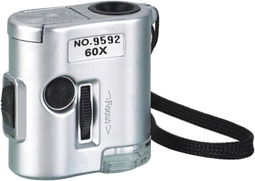 siwetg Mini 60X Magnifier Microscope UV Jeweler Loupe Currency Detector wi LED Light 60X Poet Led Microscope