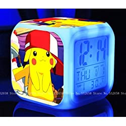 POKEMON PIKACHU Cartoon Games Action Figure 7 Colors Change Digital Alarm LED Clock FREE USB Cable and Button Batteries Cartoon Night Colorful Toys for Kids (Style 1)