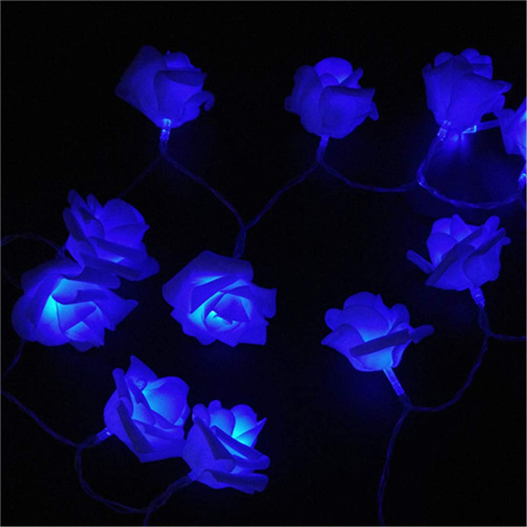 BGFHDSD 4M 40LED Rose Flower LED String Lights AA Battery Event Wedding Birthday Party Decoration Lightings Rosas Casamento Blue