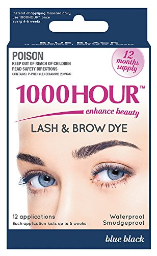 1000 Hour Eyelash & Brow Dye / Tint Kit Permanent Mascara (Blue Black) (Blonde On Top And Brown On Bottom Hair)