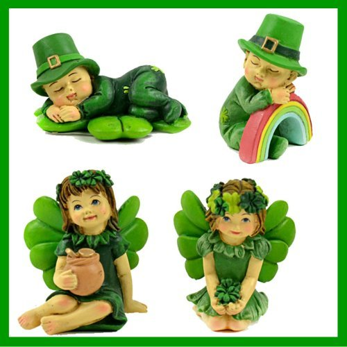 ShopForAllYou Figurines and Statues Fairy Garden Fun Lucky Irish Leprechaun Fairy Boys Sleeping Set of 4i Dollhouse