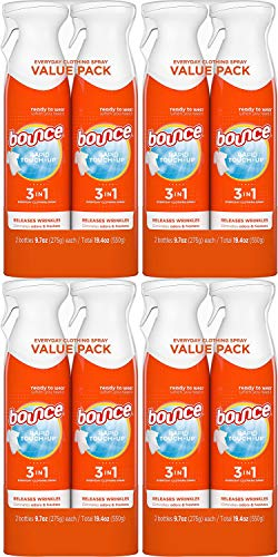Bounce Rapid Touch-Up 3 in 1 Wrinkle Release Spray, 38.8 Total Oz (Pack of 2) - Fabric Refresher, Odor Eliminator & Anti Static Pack of 4