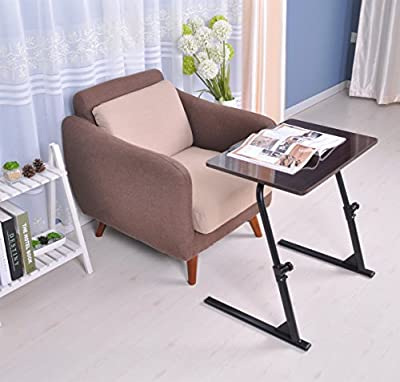 UNICOO - Height Adjustable Stand Up Desk Store Standing Desktop Desk Laptop Desk Stand, Adjustable Laptop Table, Notebook Stand Reading Holder for Couch Floor (Black Walnut - S1)