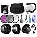 Photographers Accessories Package for Nikon D5500 D5300 D5200 D5100 D3300 D3200 D3100 includes EN-EL14 Battery Pack + Large Padded Case + Stabilizer + Filters + 2.2x Telephoto + 0.43x Fisheye + Hood