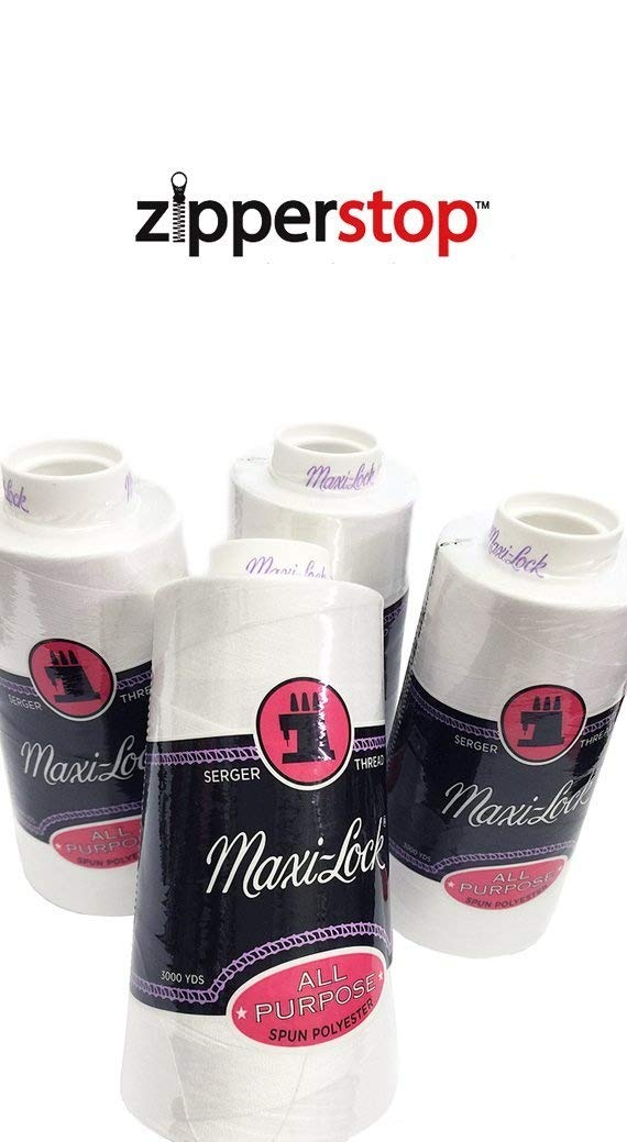 Zipperstop 4 Large Cones (3000 Yards Each) of Polyester Sewing Quilting Serger Maxi Lock All Purpose Thread White