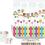 Owl Shower Curtain Amagical 16 Piece Owls Decor Bathroom Mat Set Shower Curtain Set Owls on a Branch Sunny Day Countryside Farmhouse Fences Wildflowers Bath Mat Toilet Cover Contour Mat Shower Curtain with 12 Hooks