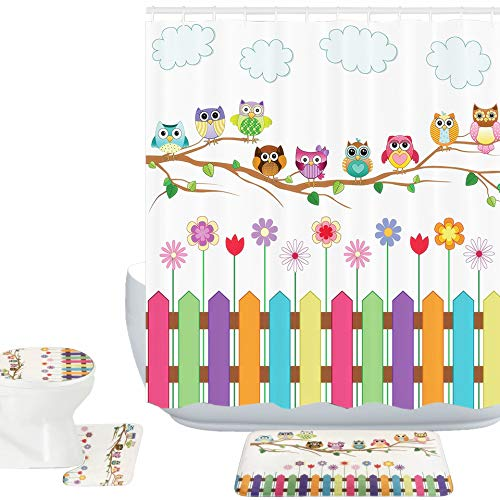 Amagical 16 Piece Owls Decor Bathroom Mat Set Shower Curtain Set Owls on a Branch Sunny Day Countryside Farmhouse Fences Wildflowers Bath Mat Toilet Cover Contour Mat Shower Curtain with 12 Hooks (Owl Shower)