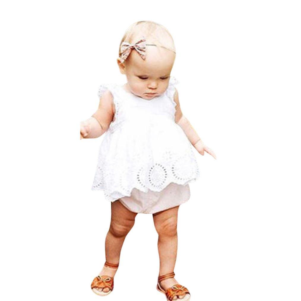 UOMOGO® Neonata Bambine Vestito Pizzo Hollow Uncinetto Principessa Abito 0-24 Mesi