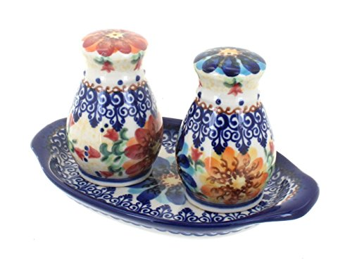 (Polish Pottery Autumn Burst Salt & Pepper Shakers with)
