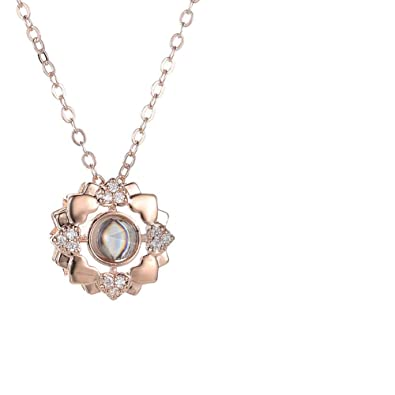 dc89107fd Amazon.com: jingH Custom Photo Projection Necklace Personalized I Love You  Necklace 100 Languages for Girlfriend Memory Pendant Necklace for Women  (Rose ...