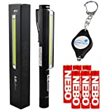 Bundle: Nebo LiL Larry Pocket Clip Magnetic LED Work Light with 6 AAA Batteries and Lumintrail Keychain Light (Black)