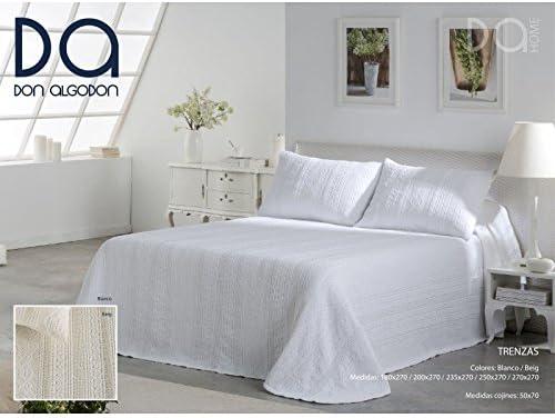 Don Algodón.- Colcha Trenzas Blanca para cama de 150 (250x270 cm): Amazon.es: Hogar