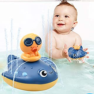 LECHONG Baby Bath Toys Water Spray Bath Toys for Toddlers, Manta Ray Bathtub Water Toys with 3 Different Spray Accessories Toddle Bath Pool Toys Gift for Kids (Blue)