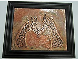 Original copper embossed and etched Giraffes in a 9X11 frame