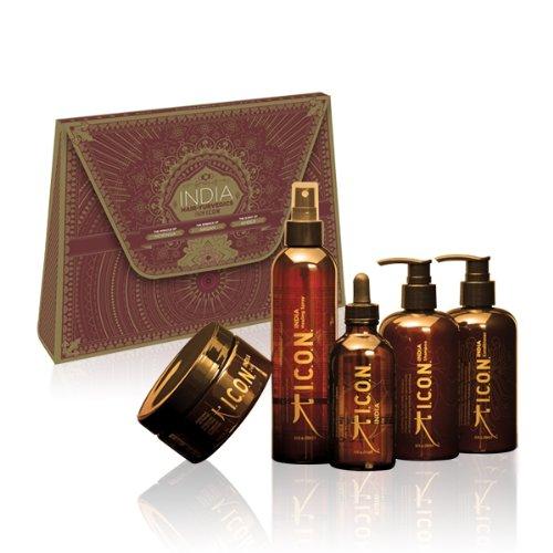 Icon India Five Set - India Shampoo 8.5 oz, India Conditioner 8.5 oz, India Oil 3.8 oz, India Healing Spray 8 oz, India 24K Masque 8.5 oz